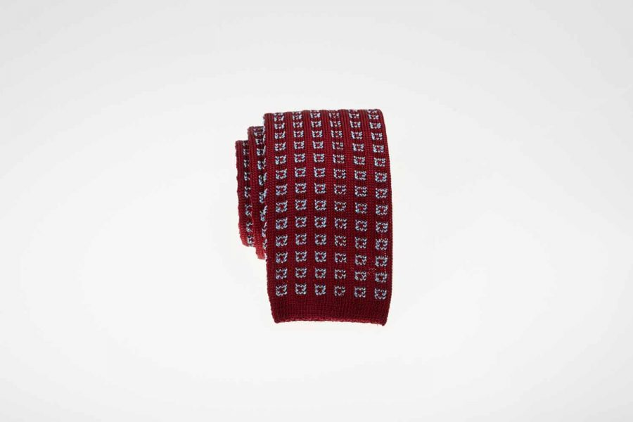 Γραβάτα πλεκτή κόκκινη με σιέλ, Μετάξι 100%