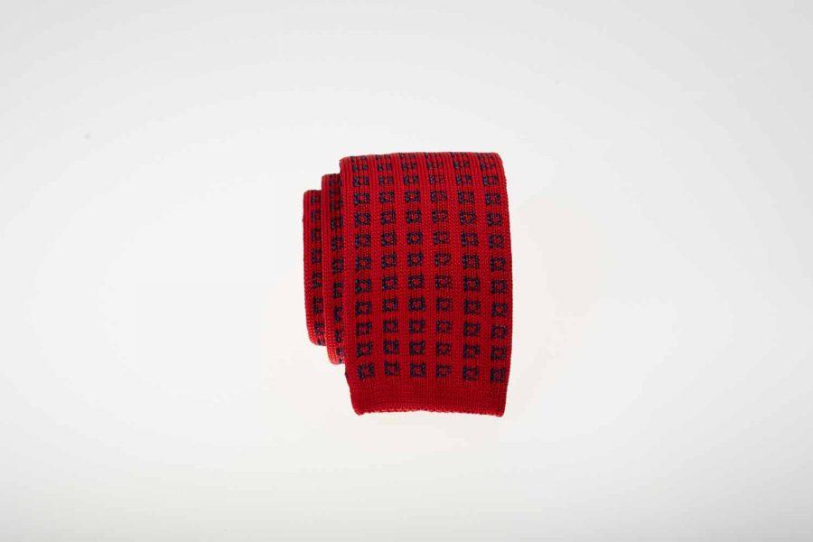 Γραβάτα πλεκτή κόκκινη με μπλε, Μετάξι 100%