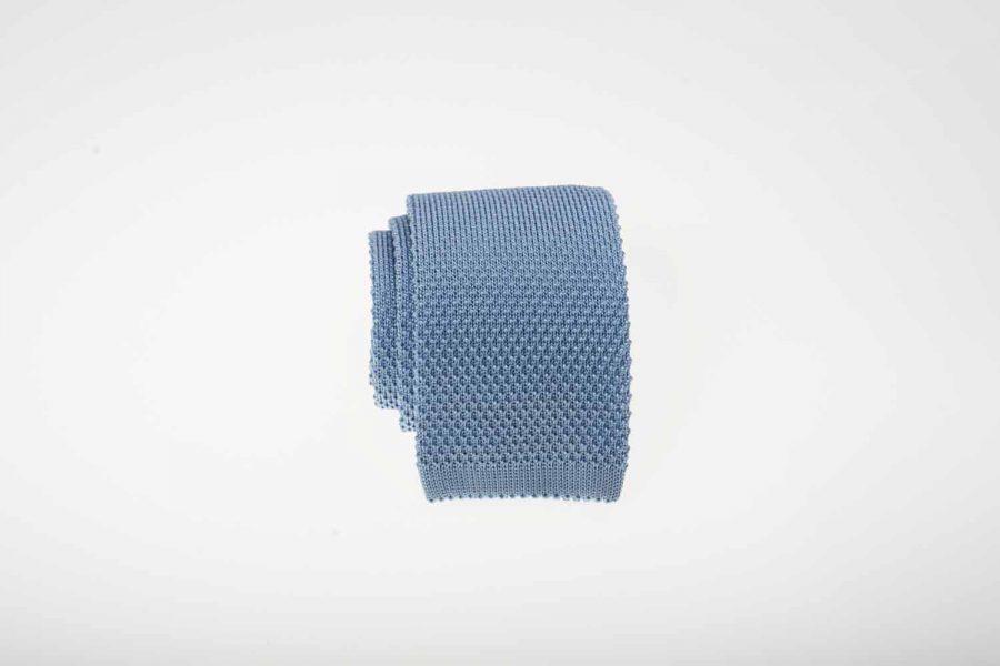 Γραβάτα πλεκτή σιέλ, Μετάξι 100%