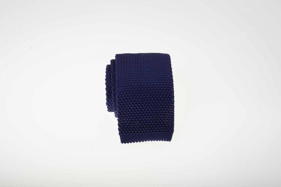 Γραβάτα πλεκτή blue navy, Μετάξι 100%