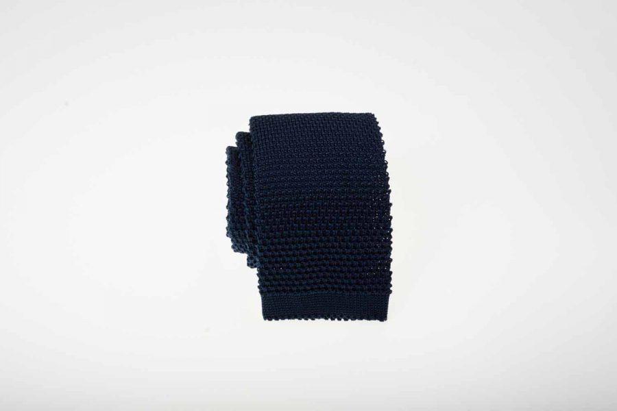 Γραβάτα πλεκτή μπλε σκούρο, Μετάξι 100%