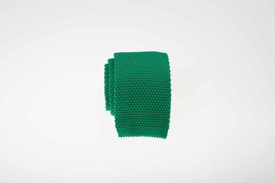 Γραβάτα πλεκτή πράσινη σμαραγδί, Μετάξι 100%