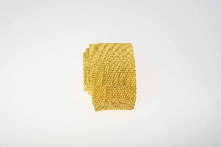 Γραβάτα πλεκτή κίτρινη, Μετάξι 100%