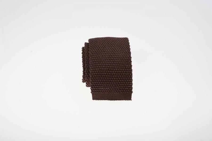Γραβάτα πλεκτή καφέ, Μετάξι 100%