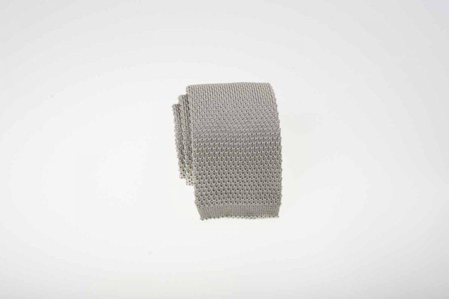 Γραβάτα πλεκτή γκρι ασημί, Μετάξι 100%