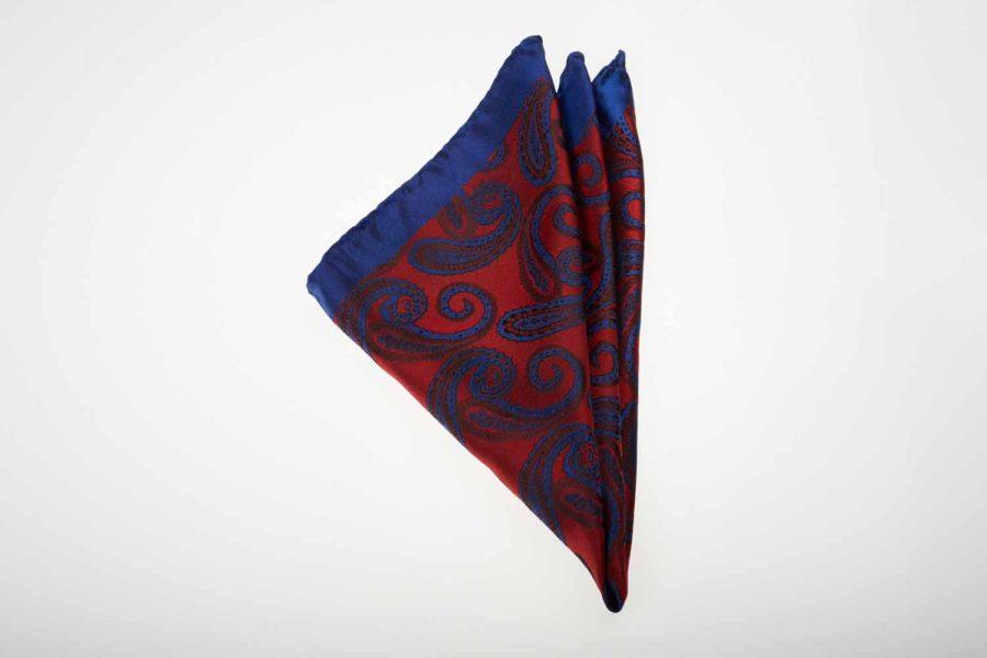 Pochette μπλε με κόκκινο λαχούρι, Μετάξι 100%