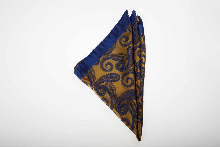 Pochette μπλε με κίτρινο λαχούρι, Μετάξι 100%