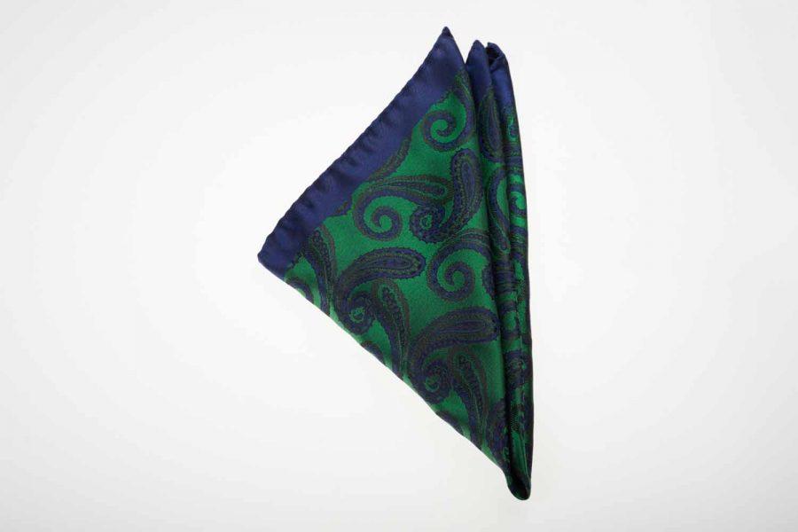 Pochette μπλε με πράσινο λαχούρι, Μετάξι 100%