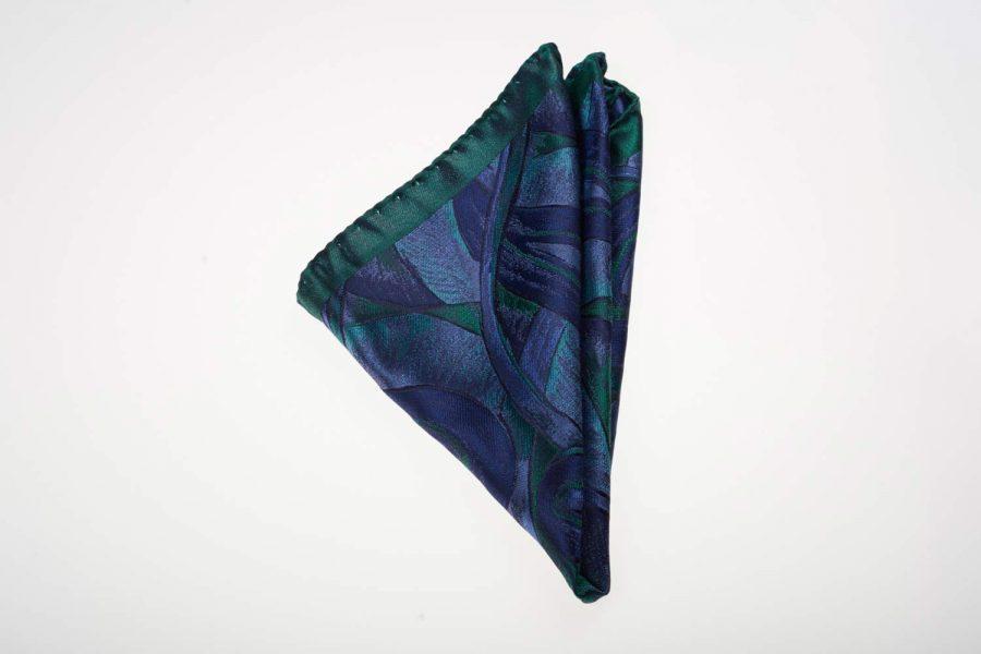 Pochette Πράσινο με Μπλε Fantasy, Μετάξι 100%