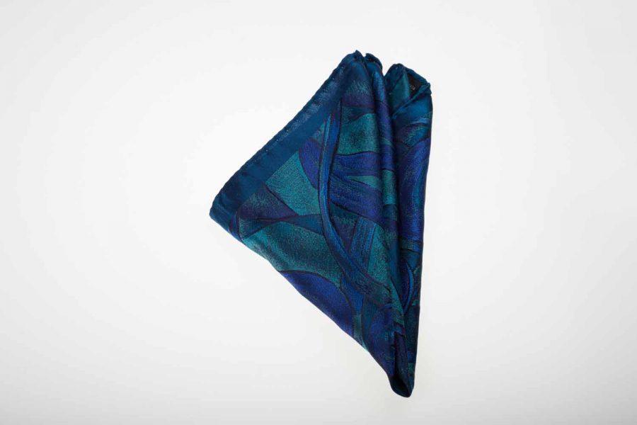 Pochette μπλε με σιέλ - οινοπνευματί fantasy, Μετάξι 100%