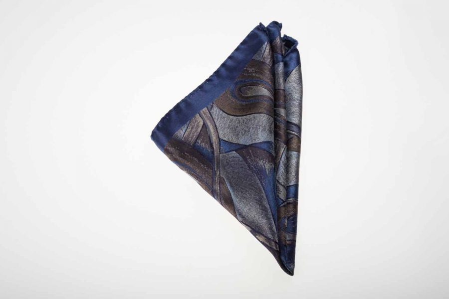 Pochette μπλε με καφέ fantasy, Μετάξι 100%