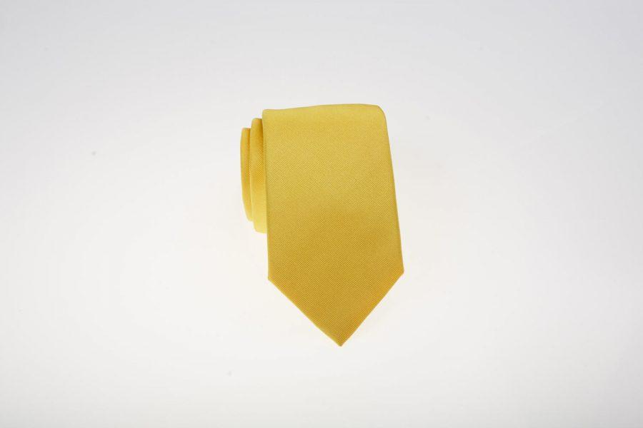 Γραβάτα Κίτρινη Μονόχρωμη, Μετάξι 100%