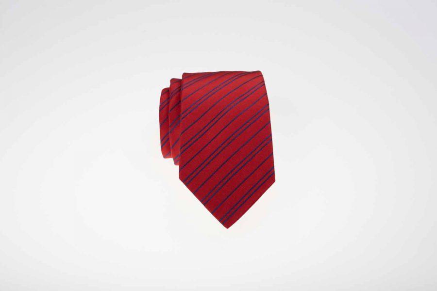 Γραβάτα κόκκινη με μπλε ρίγες, Μετάξι 100%