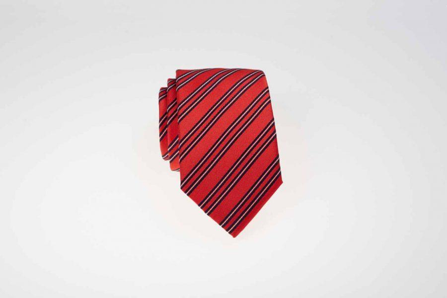 Γραβάτα κόκκινη με μπλε και λευκές ρίγες, Μετάξι 100%