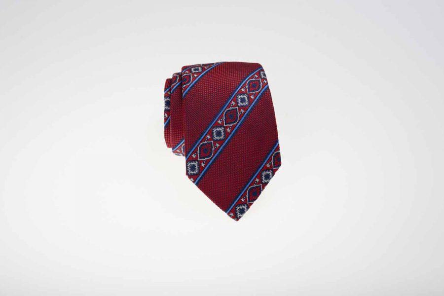 Γραβάτα κόκκινη με μπλε και λευκό fantasy, Μετάξι 100%