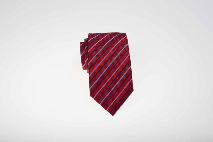 Γραβάτα κόκκινη με μπλε και σιέλ ρίγες, Μετάξι 100%