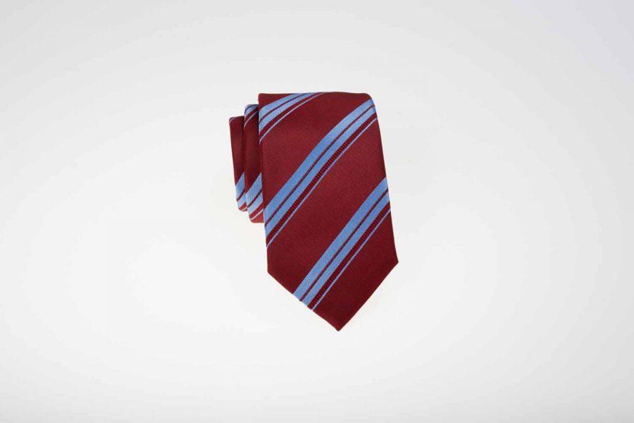 Γραβάτα μπορντό με σιέλ ρίγες, Μετάξι 100%