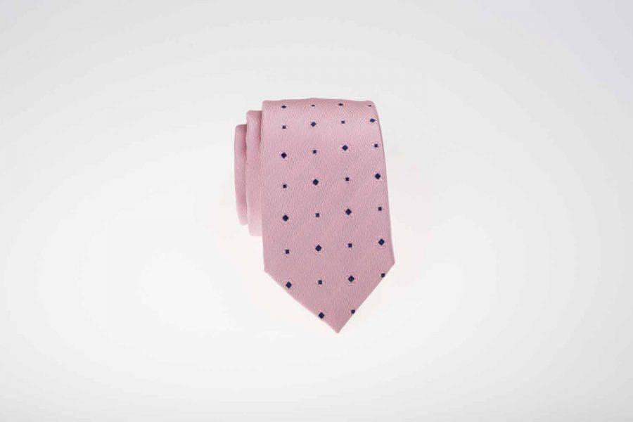 Γραβάτα ροζ με μπλε σχέδιο τύπου dots, Μετάξι 100%