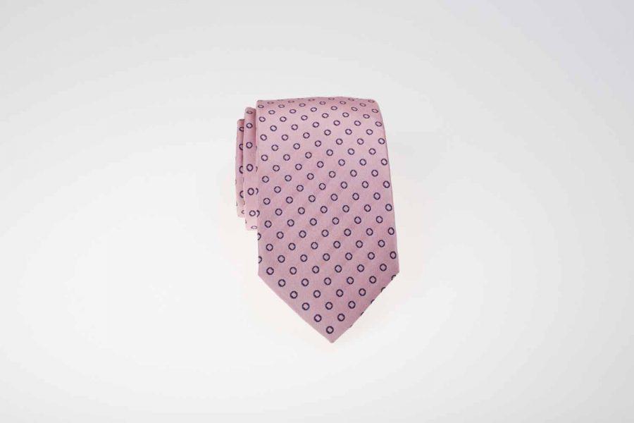 Γραβάτα ροζ με μπλε πουά, Μετάξι 100%