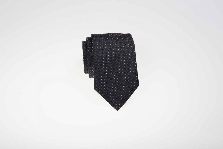 Γραβάτα μπλε σκούρο με κίτρινα dots, Μετάξι 100%