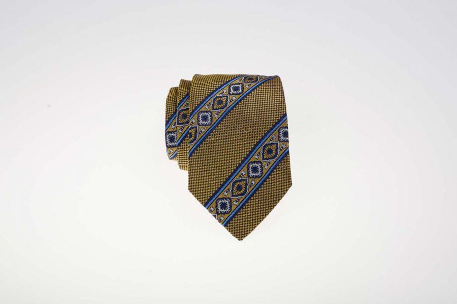 Γραβάτα Κίτρινη με Μπλε Fantasy, Μετάξι 100%