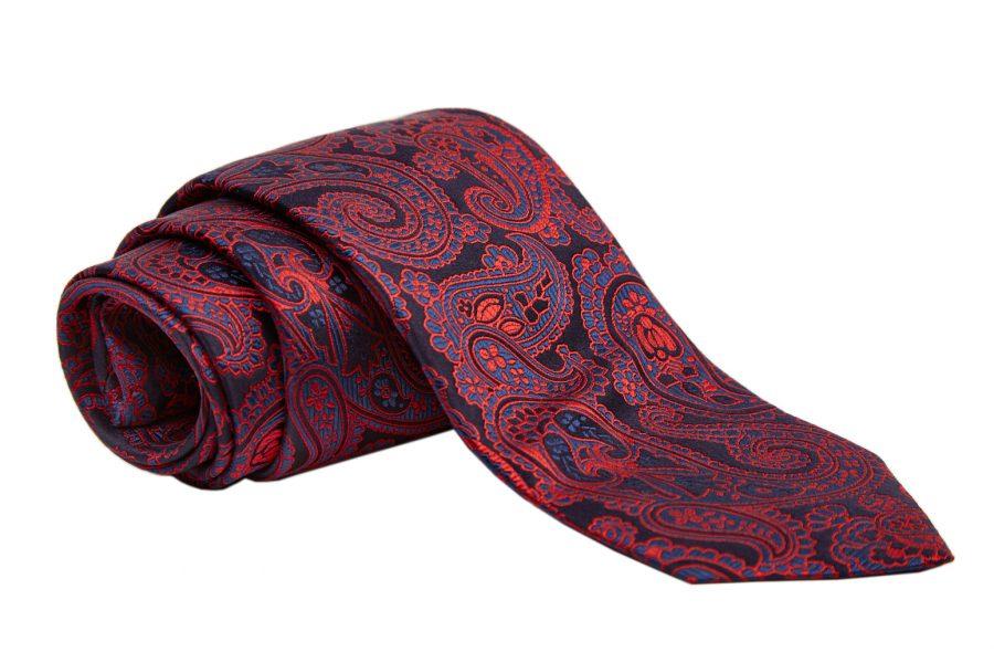 Γραβάτα μπλε σκούρο με κόκκινο λαχούρι, Μετάξι 100%