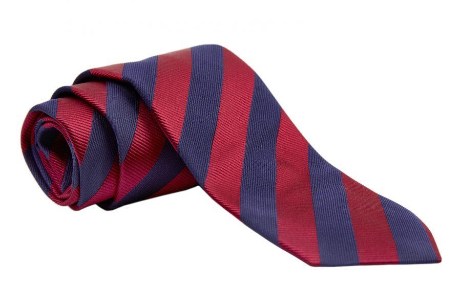 Γραβάτα με βυσσινί και μπλε ρίγα