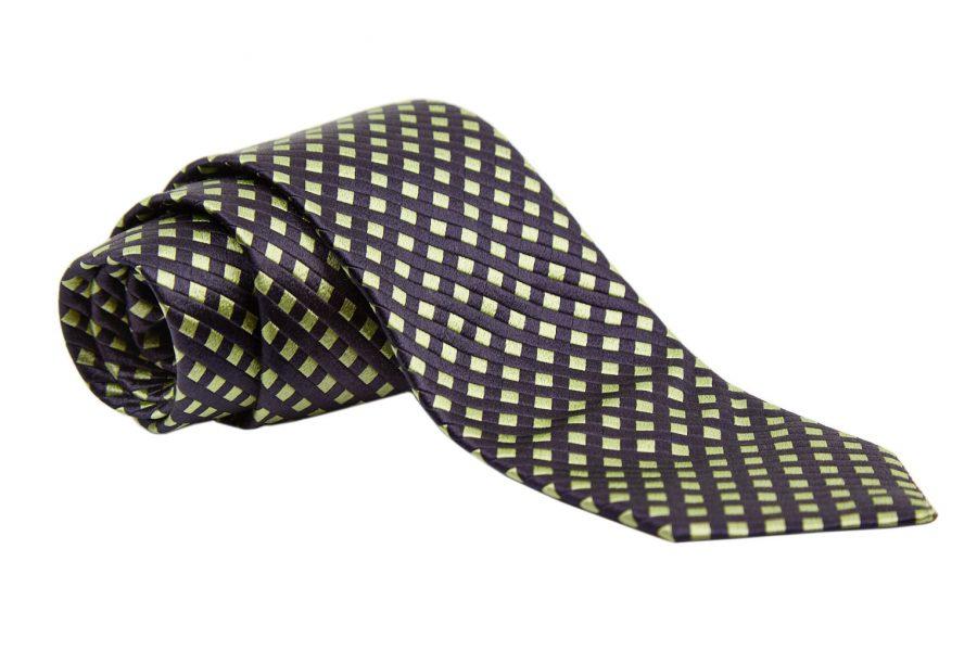 Γραβάτα λαχανί με μπλε σκούρο καρό, Μετάξι 100%