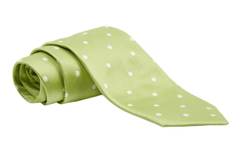 Γραβάτα λαχανί με λευκά πουά, Μετάξι 100%