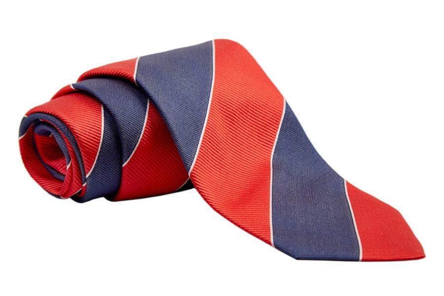 Γραβάτα με κοραλί και μπλε ρίγα
