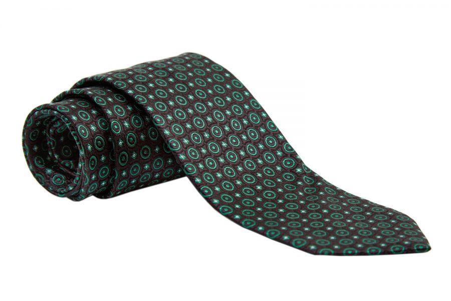 Γραβάτα μαύρη με πράσινα σχέδια, Μετάξι 100%