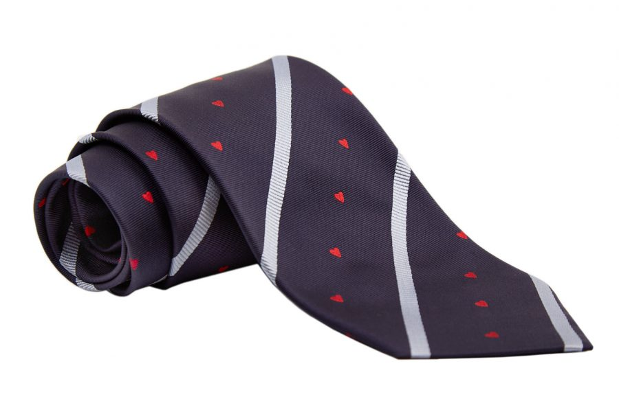 Γραβάτα μπλε σκούρο με σιέλ ρίγες και κόκκινες καρδίες, Μετάξι 100%