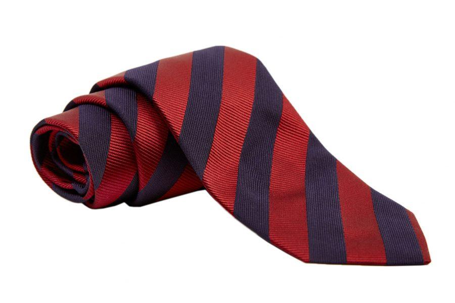 Γραβάτα με μπορντό και μπλε ρίγα