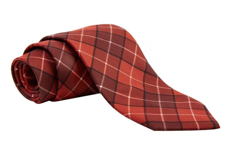 Γραβάτα κεραμιδί καρό, Μετάξι 100%