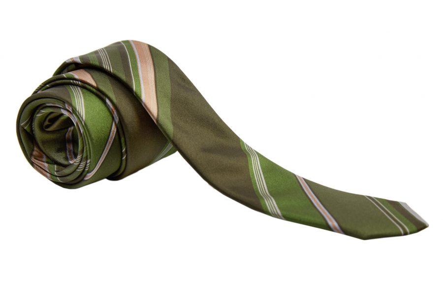 Γραβάτα πράσινη - λαδί ριγέ, Slim, Μετάξι 100%