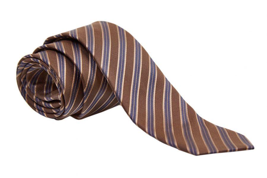 Γραβάτα καφέ με μπλε ρίγες, Slim, Μετάξι 100%