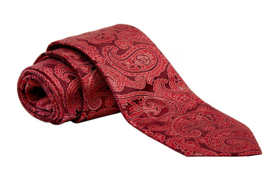 Γραβάτα κόκκινη με ανάγλυφο λαχούρι, Μετάξι 100%