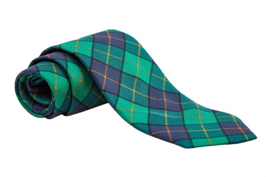 Γραβάτα πράσινη με μπλε και κίτρινο καρό, Μετάξι 100%