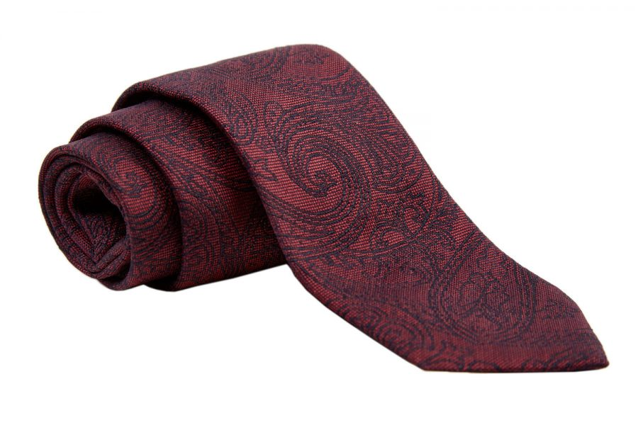 Γραβάτα μπορντό με μαύρο λαχούρι, Μετάξι 100%