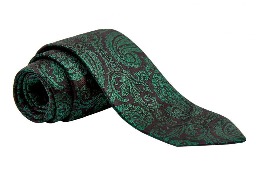 Γραβάτα μαύρη με πράσινο λαχούρι, Μετάξι 100%