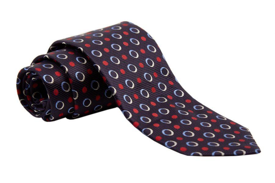 Γραβάτα μπλε με κόκκινα και σιέλ dots, Μετάξι 100%