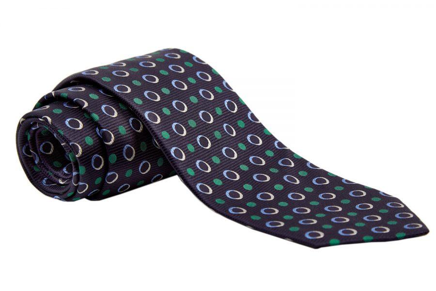 Γραβάτα μπλε με πράσινα και λευκά - σιέλ dots, Μετάξι 100%