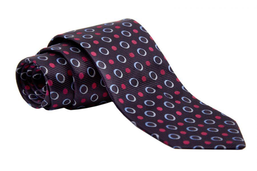Γραβάτα μπλε με φούξια και σιέλ dots, Μετάξι 100%