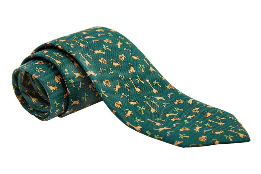 Γραβάτα πράσινη με ζωάκια, Μετάξι 100%