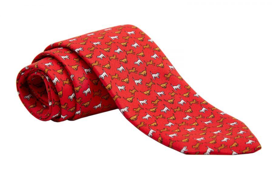 Γραβάτα κόκκινη με καφέ σκυλάκια, Μετάξι 100%