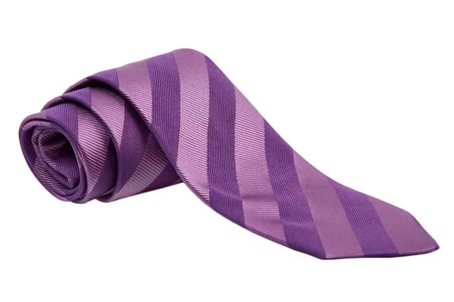Γραβάτα με δυο αποχρώσεις του μωβ σε ριγέ σχέδιο, Μετάξι 100%