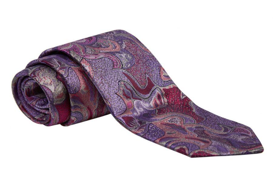Γραβάτα μωβ με φούξια και γκρι σχέδια, Μετάξι 100%