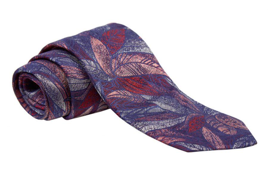 Γραβάτα κόκκινη με γκρι σχέδια, Μετάξι 100%