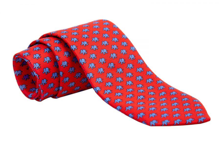 Γραβάτα κόκκινη με σιέλ ελεφαντάκια, Μετάξι 100%