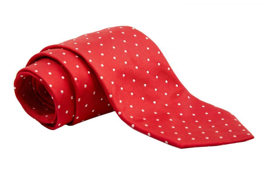 Γραβάτα κόκκινη με λευκό πουά, Μετάξι 100%